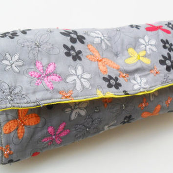 Gray Diaper Clutch in Butterfly and Flower Pattern with Beads and Embroidery
