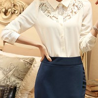 Casual Turn Down Collar Hollow Out Plain Blouse
