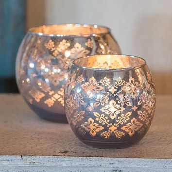 Large Glass Globe Votive Holder With Reflective Lace Pattern (4) - Lavender (Pack of 4)