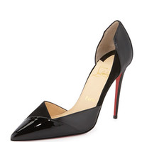 Christian Louboutin Tac Clac Patchwork Leather Half d'Orsay Red Sole Pump