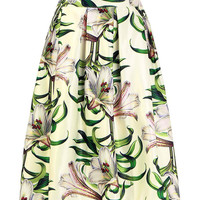 White Pleated Tropical Floral Print Full Skirt