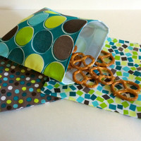 Modern Green and Blue Set of Reusable Snack Bags Lunch Baggies and Sandwich Bags