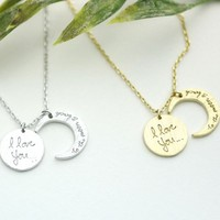 i love you to the moon and back necklace, Crescent moon pendant Neckla