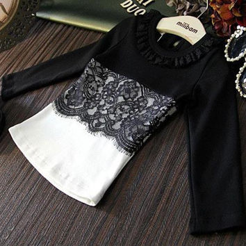 2016 children's autumn clothing child female child fashion all-match lace decoration patchwork long-sleeve T-shirt