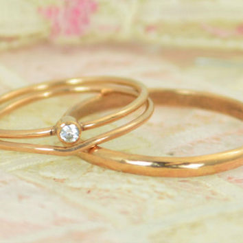 Tiny Diamond Ring Set, Solid 14k Rose Gold Wedding Set, Diamond Stacking Ring, Gold Diamond Ring, April Birthstone, Mothers Ring, Diamond