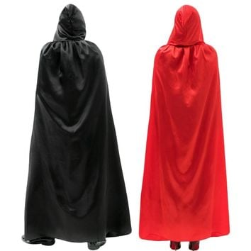 Adult Long Satin Cloak Halloween Christmas Party Hooded Fancy Cape Vampire Role Play Costumes Unisex Devil Dress Robes