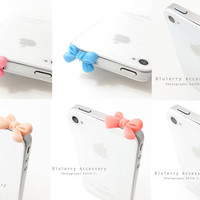6 Colors for Sale Lovely Matte Bow Anti Dust Plug Cover Stopper for iPhone Samsung HTC Smartphone Accessory