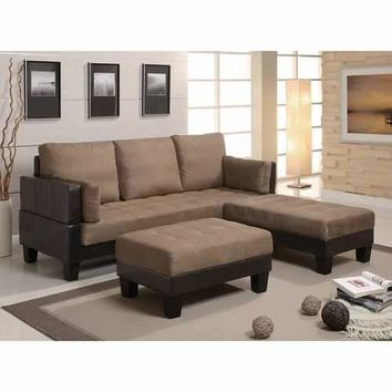 Contemporary Sofa Bed with 2 Ottomans, Brown
