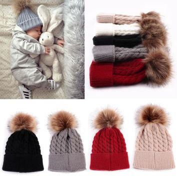 2018 New Fur Hat For Kids Children Baby Boys Girls Winter Ball Knit Faux Raccoon Fur Pom Bobble Beanie Hat Winter Ski Cap