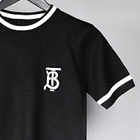 Burberry Fashion New Embroidery Letter Women Men Top Black