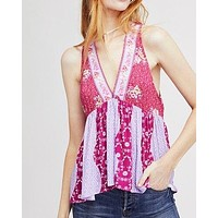 free people - dream darlin printed women tank top - raspberry