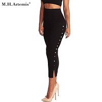 M.H.Artemis Knitted Bodycon Midi Skirt Button Split Side Elegant Pencil Skirts Boho Chic High Waist Long Skirt Winter warm wear
