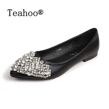 Women Ballet Flat Pumps With Rhinestone Crystal Detailing