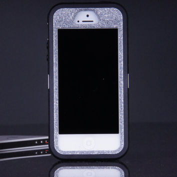 iPhone 5 / 5S Otterbox Defender Case - Black/Silver Glitter iPhone 5 / 5S Case - Sparkly Glitter Bling iPhone 5 / 5s Cover