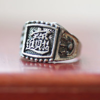 Vintage Chinese Good Luck Silver Ring