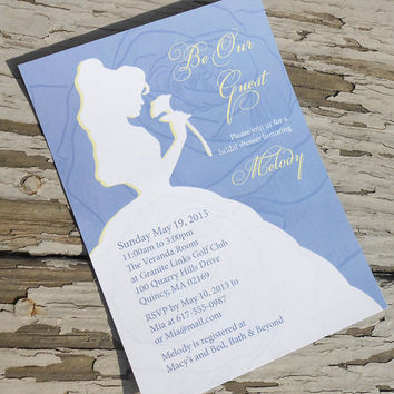 Disney Beauty and the Beast - Belle Bridal Shower Invitation - Custom Printable PDF