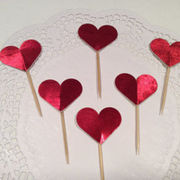 Glossy Heart cupcake toppers. 18 per order.  Choose Your colors!