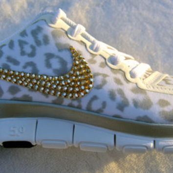 SALE w/ GOLD crystals- White Cheetah Print Women's Nike Free  5.0 V4