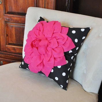 Hot Pink Flower on Black and White Polka Dot Pillow -Decorative Pillow-