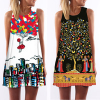 3D vintage Print summer dress 2016 bohemian beach dress summer sundresses women dresses dashiki hippie boho vestidos plus size
