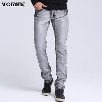 Men black Grey blue Casual Jeans Slim Feet Straight High Elasticity Fit Loose Waist Jeans