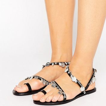 ASOS FINLAND Wide Fit Leather Coin Flat Sandals at asos.com