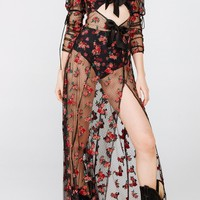 For Love & Lemons Blondie Embroidered Maxi