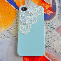 Beautiful blue hard case made of  pearl for by braceletbanglecase