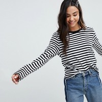 Monki Stripe Long Sleeve Top at asos.com