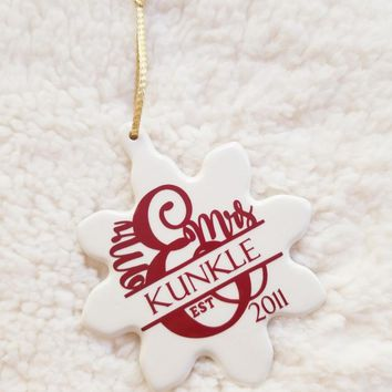 Couples Mr. and Mrs. Snowflake Christmas Ornament
