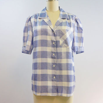 Vintage Blue Plaid Silky Blouse by Inner Visions by Ship'N Shore Size 8