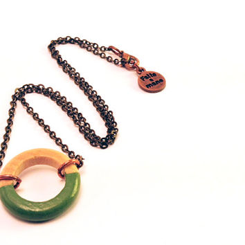 "Wood Geometric Necklace // Boho-Chic Jewelry // Hand-Painted ""Avocado Green"" Necklace // Minimal Jewelry // Modern Necklaces"