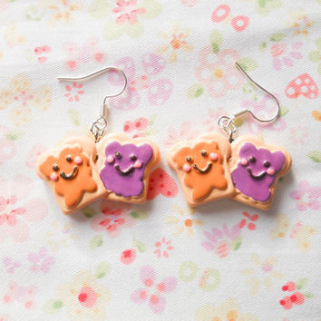 Peanut Butter and Jelly Earrings, Food Earrings, Peanut Butter and Jam, Cute Earrings, Kawaii Earrings, Kawaii Kei, Fun Earrings, Gift idea