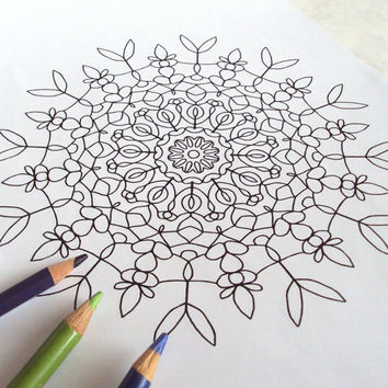 Mandala Coloring Page - Colouring for Adults, Teens - PDF Digital Download Printable Drawing - Abstract Floral Art 'Water Garden' - Number 1