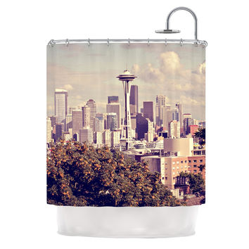 "Sylvia Cook ""Space Needle"" Beige Skyline Shower Curtain"
