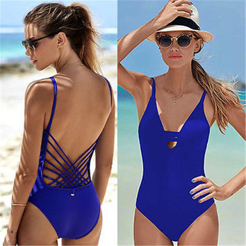 2017 Blue Sexy cut out bathing suit for women hollow out monokini bodysuit woman swim clothing one piece swimwear swimsuit