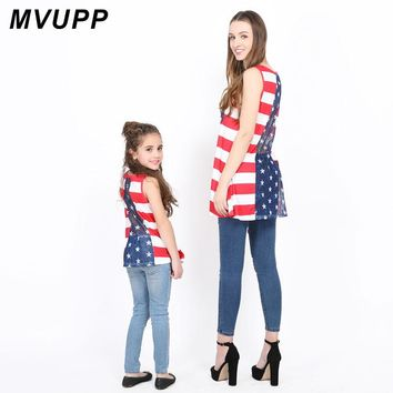 Mommy & Me Matching Red White & Blue Shier Back Shirt