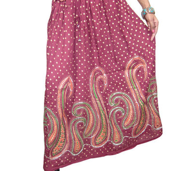Womens Indian Long Skirts Maroon Sequins Ankle Length India Clothing