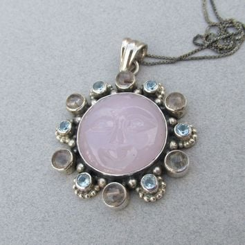 Vintage Balinese Sterling Silver Rose Quartz MOON FACE Pendant Necklace, Amethyst & Blue Topaz