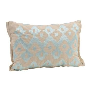 Turquoise Boho Ikat Throw Pillow