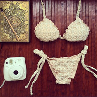 Triangle Sexy Halter Bikinis Set Lace Swimwear Beach Bathing Suit