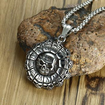 Men's Punisher Skull and Roman Numerals Pendant Necklace for Men Stainless Steel Vintage Style Punk Biker Male Jewelry 24 inch