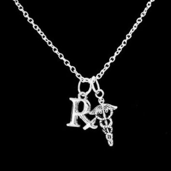 RX Pharmacist Pharmacy Technician Caduceus Medical Charm Gift Necklace