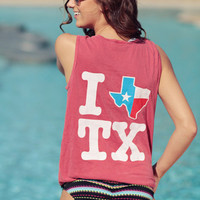 I Texas Texas Tank Top - Crimson