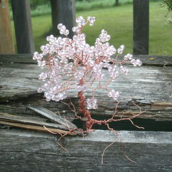 "Miniature pink Tree, decorative display, fairy garden trees, about 6"" tall, copper wire trunk and roots, pink AB crystal beads, unmounted"