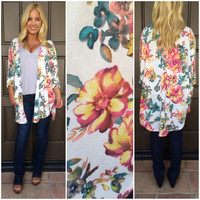 Through The Meadow Floral Cardigan - IVORY