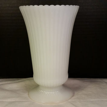 E O Brody Co Large Milk Glass Ribbed Footed Vase Pedestal Base #3957 Milk Glass Vase Ribbed Sides Scalloped Edge Wedding Table Classic