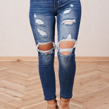 Moving On Up Distressed Jeans (Medium Wash)