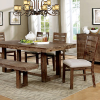 Furniture of america CM3358T-6PC 6 pc lidgerwood country style natural tone finish wood dining table set