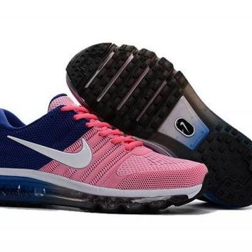 VONE8H5 Nike Air Max 2017. Pink, Blue & White. Women's Running Shoes Trainers